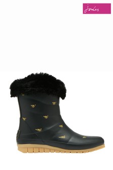 Joules Black Chilton Short Padded Wellies With Faux Fur Collar