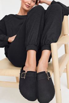 Black Suede Forever Comfort® Closed Toe Footbed Mules