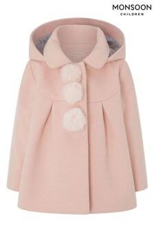 Monsoon Pink Baby Pom Pom Coat With Hood
