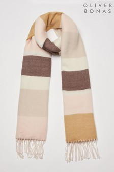 Oliver Bonas Super Soft Pink And Camel Brushed Scarf