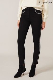 Phase Eight Black Diamanté Trim Jeans