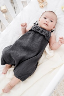 Grey Broderie Frill Woven Crinkle Romper (0mths-2yrs)