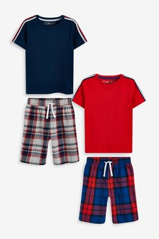 Blue/Red 2 Pack Check Short Pyjamas (1.5-16yrs)