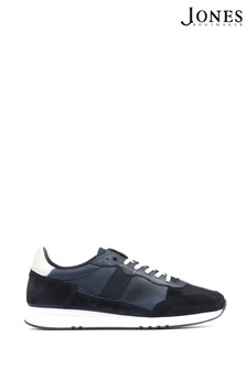 Jones Bootmaker Blue Theo Leather Lace-Up Trainers