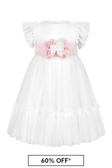 Patachou Girls White Cotton Dress