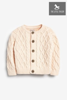 The Little Tailor Pink Cable Knit Baby Cardigan
