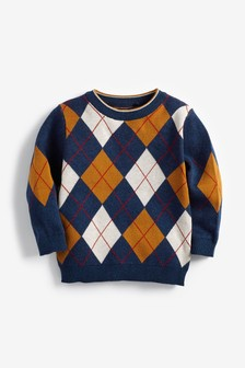 Tan/Navy Argyle Knitted Jumper (3mths-7yrs)