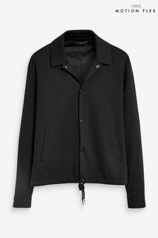 Black Slim Fit Check Coach Jacket