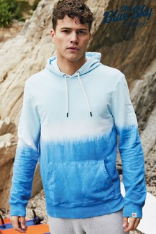 Blue Tie Dye Overhead Mr Blue Sky Organic Cotton Hoodie