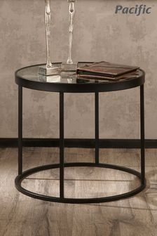 Pacific Lifestyle Antique Black Metal Round Clock Side Table