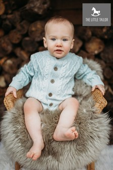The Little Tailor Blue Cable Knit Baby Cardigan