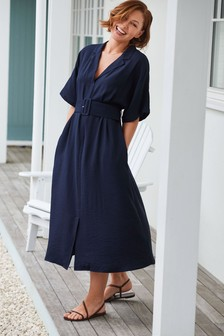 Navy Emma Willis Belted Midi Dress