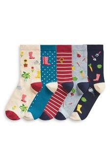 Gardening Print Ankle Socks Five Pack