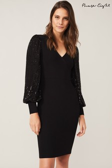 Phase Eight Black Glynis Sequin Knit Wrap Dress