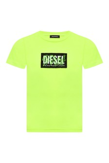 Diesel Boys Green Cotton T-Shirt