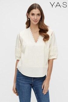 Y.A.S Organic Cotton Off-White Lace Trim Ora Blouse