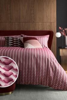 Deep Red Geometric Jacquard Duvet Cover and Pillowcase Set