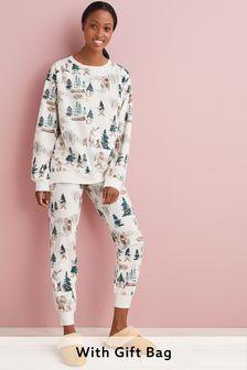 Cream Winter Bears Cosy Pyjamas In Gift Bag