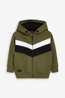Khaki Zip Through Colourblock Jersey (3mths-7yrs)