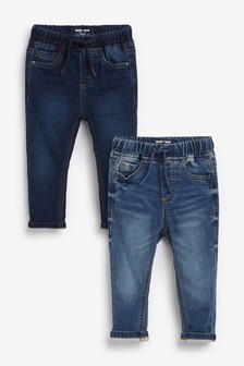 Dark/Mid Blue 2 Pack Jogger Jeans (3mths-7yrs)