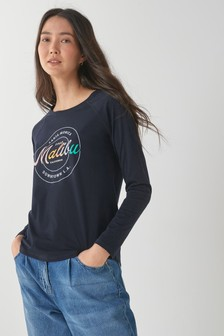 Navy Malibu Graphic Raglan Long Sleeve Top