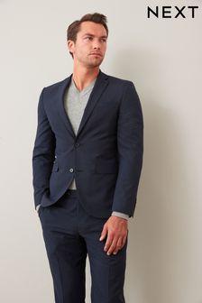 Navy Slim Fit Wool Mix Textured Suit: Jacket