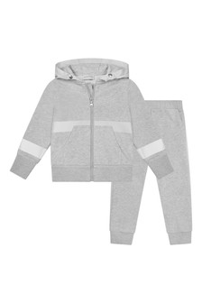 Boys Grey Cotton Reflective Tracksuit