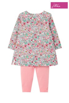 Joules White Christina Organically Grown Cotton Dress And Legging Set