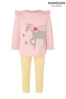Monsoon Pink Baby Horse Sweatshirt And Leggings Set