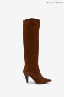 Mint Velvet Annie Tan Suede Long Boots