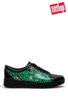 FitFlop Black Rally Jungle Print Leather Trainers