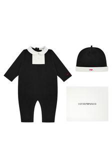 Emporio Armani Baby Boys Black Babygrow Gift Set