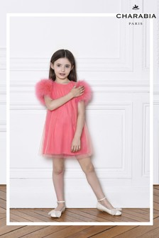 Charabia Pink Feather Sleeve Dress