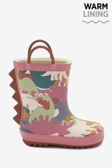 Pink Dinosaur Handle Wellies