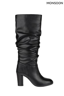 Monsoon Black Slouch Long Leather Boots