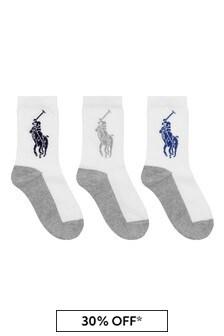 Multi Kids Big Pony Socks Three Pack