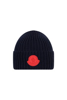 Boys Navy Blue Wool Logo Hat