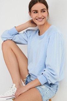 Blue Volume Sleeve Sweatshirt