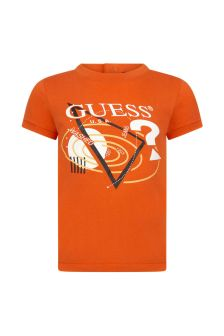Guess Baby Boys Orange Cotton T-Shirt