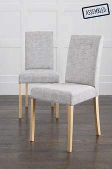 Boucle Weave Light Dove Set Of 2 Rae Dining Chairs With Natural Legs