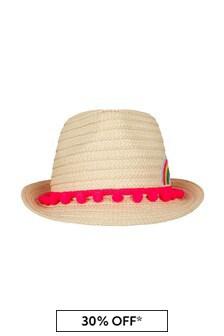 Billie Blush Girls Rainbow Straw Hat