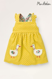 Boden Yellow Appliqué Pocket Pinafore