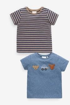Blue 2 Pack Woodland Badge T-Shirts (0mths-2yrs)