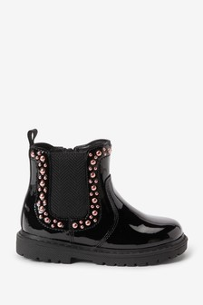 Black Studded Patent Chelsea Boots