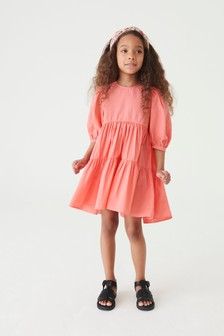 Coral Tiered Dress (3-16yrs)