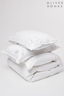 Oliver Bonas Estella White Embroidered Double Duvet Cover and Pillowcase Set