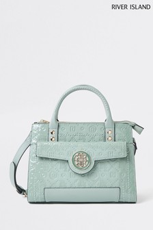 River Island Green Light Embossed Middy Tote Bag