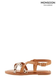 Monsoon Tan Animal Print Leather Strap Sandals