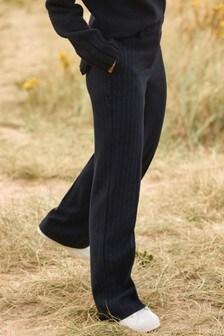 Navy Emma Willis Pinstripe Wide Trousers