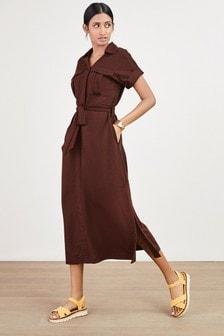 Chocolate Belted Shirt Dress